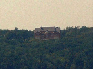 "View of former President Yanukovych's ""Honka"" club house on the territory of the former monastery."