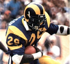 Eric Dickerson, one of the best running backs in history, was most famous for his time with the Los Angeles Rams. In 1984, Dickerson rushed for 2,105 yards in the season, a record that still stands today.