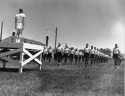 Cadets lined up for physical training