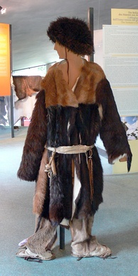 Archeoparc (Schnals valley / South Tyrol). Museum: Reconstruction of the neolithic clothes worn by Ötzi