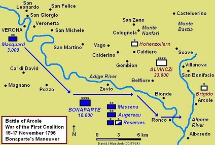 Map showing Bonaparte's maneuver from Verona to Ronco