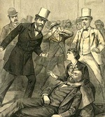Contemporaneous depiction of the Garfield assassination; Secretary of State James G. Blaine stands at right