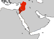 Ayyubid territories in 1257. Area in bright red controlled by an-Nasir Yusuf, while the area under dark red was under the nominal control of al-Mughith Umar of Kerak