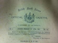 Extract from the title page of the British North Borneo Official Gazette (the British North Borneo Herald) of 16 April 1902.