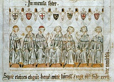 The imperial prince-electors left to right: Archbishop of Cologne, Archbishop of Mainz, Archbishop of Trier, Count Palatine, Duke of Saxony, Margrave of Brandenburg and King of Bohemia (Codex Balduini Trevirorum, c. 1340)