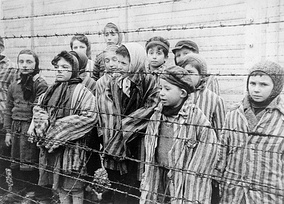 Jewish twins kept alive in Auschwitz for use in Mengele's medical experiments. The Red Army liberated these children in January 1945.