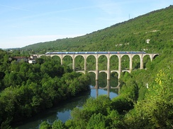A double-decker TGV train crossing the Cize–Bolozon viaduct