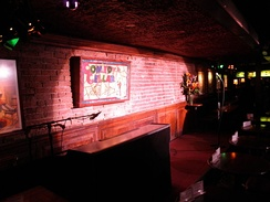 The stage of the Comedy Cellar, which is often shown on the series.