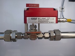 Electric valve actuator controlling a ½ needle valve.