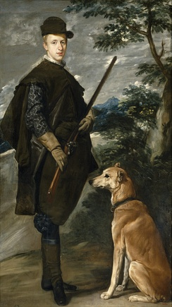 Velázquez's portrait of Cardinal Fernando, Infante of Spain and Governor General of the Southern Spanish Netherlands, with his hunting dog and gun (c. 1633).