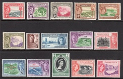 Dominica stamps with portraits of King George VI and Queen Elizabeth II