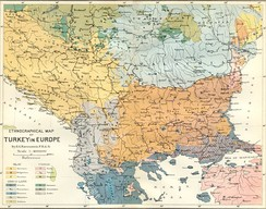Ethnographic map of the Balkans in the end of the 19th century.