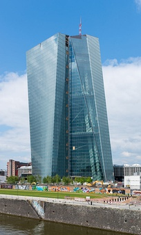 The European Central Bank has its seat in Frankfurt, Germany, and is in charge of the monetary policy of the eurozone.