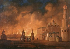 French invasion of Russia in 1812, Fire of Moscow, painting by A.F. Smirnov 1813
