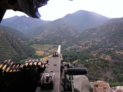 An M2 overlooking the Korengal Valley at Firebase Phoenix, Afghanistan, in 2007