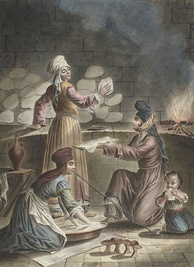 Turkish women baking bread, 1790