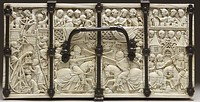 Lid of the Walters Casket, with the Siege of the Castle of Love at left, and jousting. Paris, 1330–1350