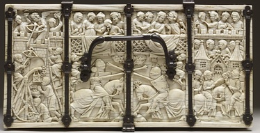 Lid of the Walters Casket, with the Siege of the Castle of Love at left, and jousting. Paris, 1330–1350.