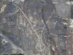Petroglyphs etched into a rock formation at the Parowan Gap. The Paiute tribes consider this place a sacred site.