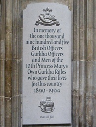 Memorial of 10th Princess Mary's Own Gurkha Rifles, Winchester Cathedral, Hampshire
