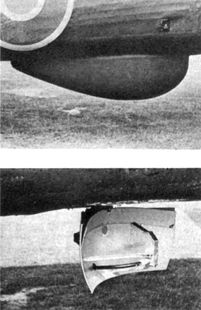 One of the first radomes.  The radome (top) covers the H2S radar system rotating antenna (bottom) on a Halifax bomber