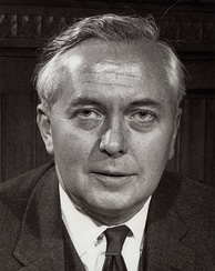A portrait photograph of Harold Wilson