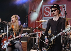 Love and Micko Larkin performing with Hole at SXSW in Austin, Texas, 2010.