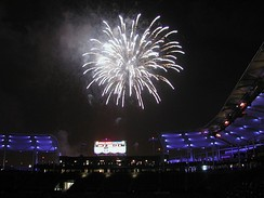 A fireworks display at Dignity Health Sports Park