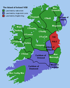 Political boundaries in Ireland in 1450, before the plantations