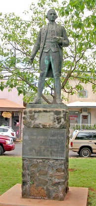 A statue of James Cook stands in Waimea, Kauai commemorating his first contact with the Hawaiian Islands at the town's harbour in January 1778