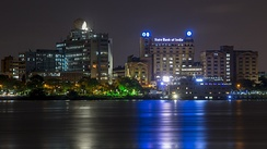 Kolkata riverfront at night