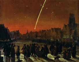 The Great Comet of 1680 over Rotterdam as painted by Lieve Verschuier