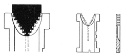 Diagram of linotype matrix teeth. In the drawing on the left, the matrix is about to drop because the only teeth on the rail (shown in black) correspond to tooth positions that are cut away on the matrix. The drawing in the middle shows a matrix with all teeth present—a pi matrix.