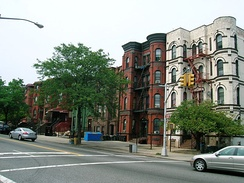 Brownstones and apartment buildings on Bushwick Avenue, near Suydam Street