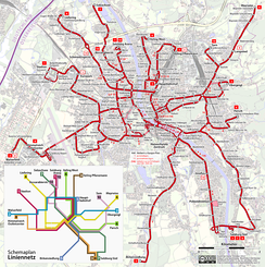 Map of the Salzburg trolleybus system