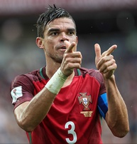 Pepe celebrates after scoring a late equalizer against Mexico at the 2017 FIFA Confederations Cup in Moscow.