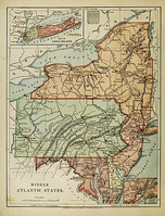 "An 1886 ""Harper's School Geography"" map showing the region, exclusive of Virginia and West Virginia."