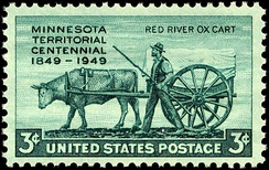 Minnesota Territory Centennial stamp, issued in 1949 in recognition of Minnesota's unique Metis oxcart traders.