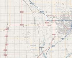 Example of road system in a PLSS area; Nebraska