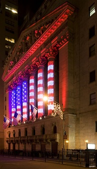 The New York Stock Exchange at Christmas time