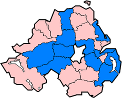 Districts in Northern Ireland affected in June and July 2007 floods as of 24 July (marked in blue).