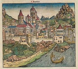 Aquileia in a 1493 woodcut from Hartmann Schedel's Nuremberg Chronicle