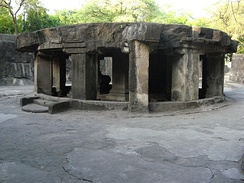 The circular Nandi mandapa at the Pataleshwar cave temple built in the Rashtrakuta era