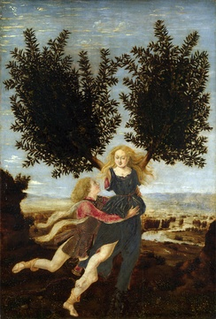 Apollo and Daphne (c. 1470–1480) by Antonio Pollaiuolo, one tale of transformation in the Metamorphoses—he lusts after her and she escapes him by turning into a bay laurel.