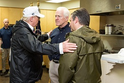 President Donald Trump with Senators Cornyn and Ted Cruz, August 29, 2017