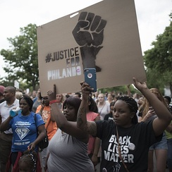 Protest march in response to the Philando Castile shooting, St. Paul, Minnesota, July 7, 2016