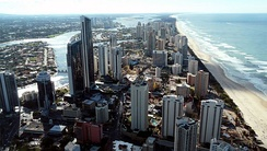 The skyline of the Gold Coast in Queensland is dominated by apartments.