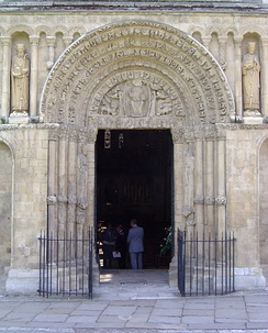 The cathedral's Great West Door, with stonework substantially unaltered since Ernulf's time