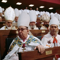 Bishops listen during the Second Vatican Council