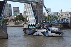 The MY Steve Irwin in September 2011, sailing up river under Tower Bridge in London